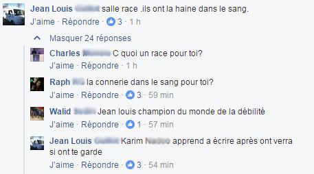 Capture d'écran d'une conversation sur Facebook concernant la marche Abdelghani Merah